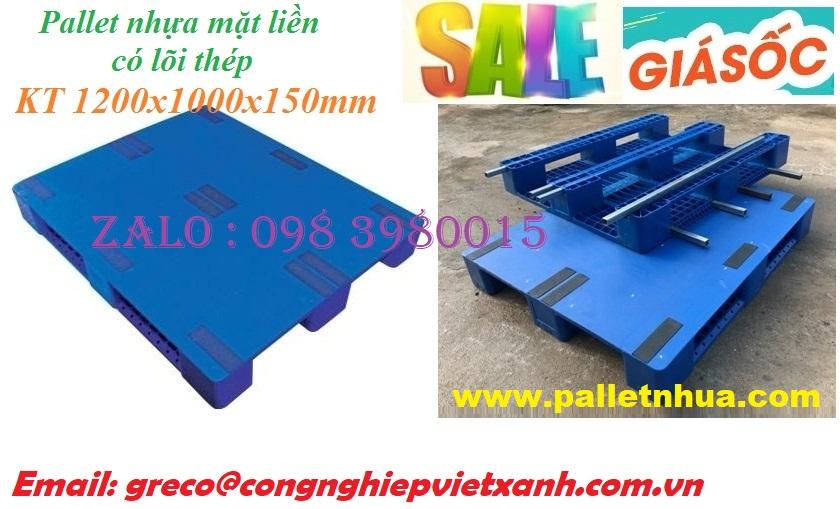 Pallet nhựa mặt liền 1200x1000x150 - lõi thép