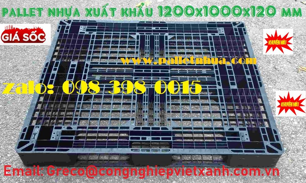 Pallet nhựa đen dùng trong xuất khẩu 1200x1000x120 mm