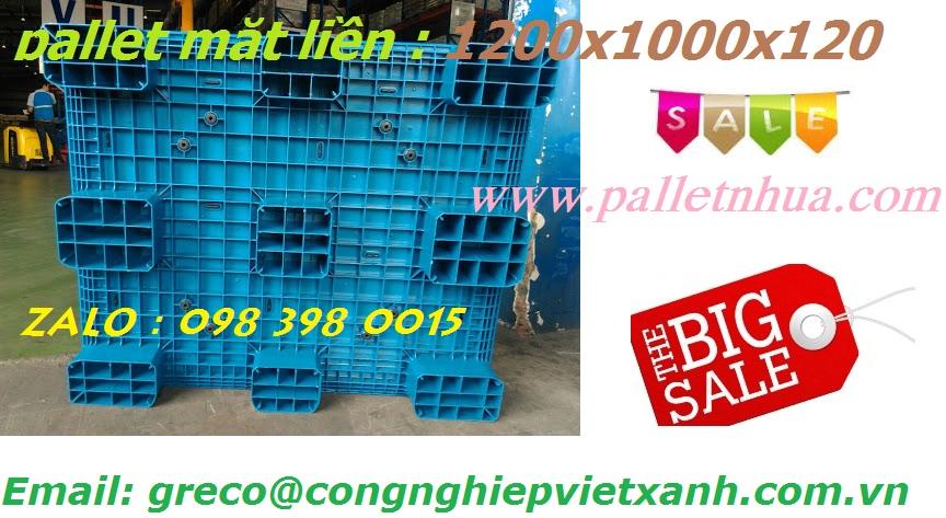 Pallet nhựa  liền khối 1200x1000x120mm